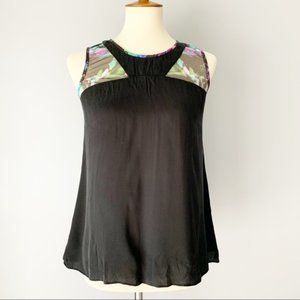 Milly Black Multicolor Mesh Detail Tank Top